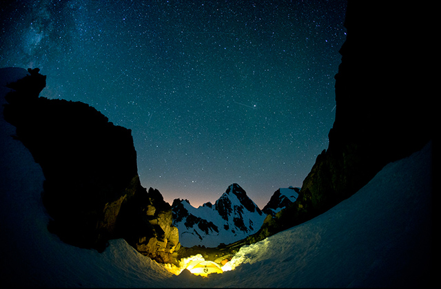 Shooting stars, camp in Gunsight Notch, Mt. Sinister and Dome in the big night's sky. American Alps Traverse. PHOTO: Jason Hummel