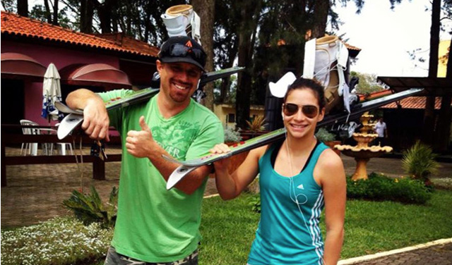 Cool Runnings, the Brazilian version. Coach Ryan Snow and athlete Lais de Souza hope to represent Brazil at Sochi in freestyle aerials skiing. PHOTO: CBDN