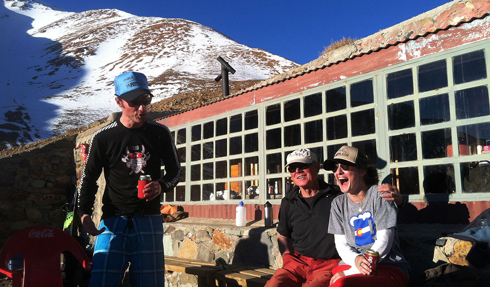 Anton Sponar (left), with his dad Toni and Paula, getting the apres started. PHOTO: Julie Brown
