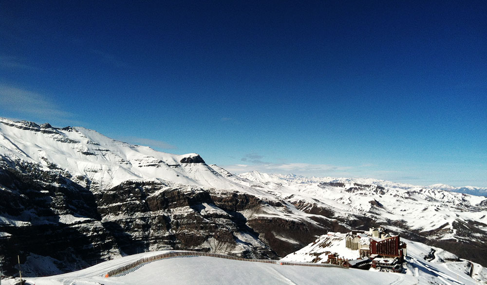 Looking down on Valle Nevado and the mountains toward Santiago. PHOTO: Julie Brown