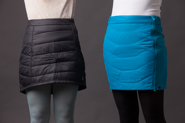 Smartwool's PhD® SmartLoft Skirt, left, and Dynafit's Radical Primaloft Skirt, right
