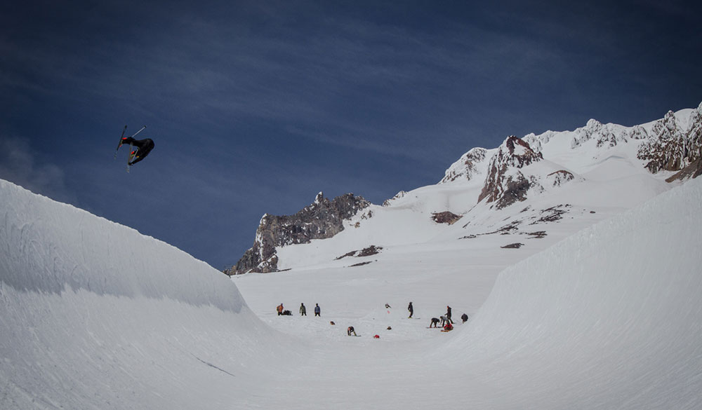 Lucas Wachs soaring high in the now skier-friendly High Cascade superpipe. PHOTO: Ethan Stone