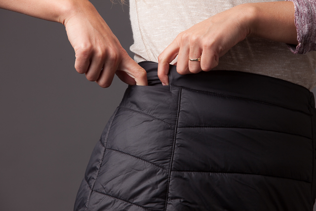 The Smartwool skirt has an awesome little side pocket for cash, credit card, or keys.