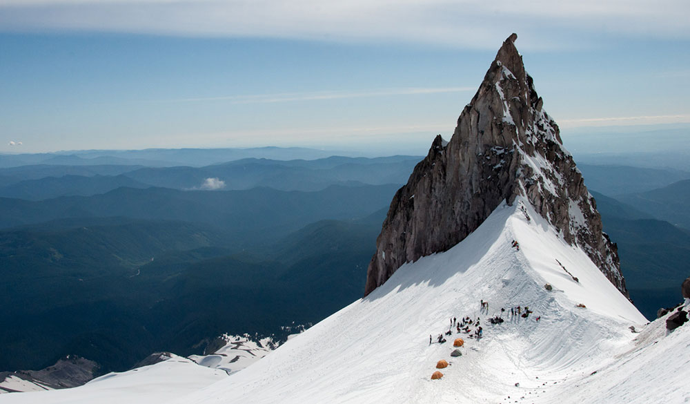 Mount Hood's iconic Illumination Rock plays host to a summer solstice party organized by local skiers. PHOTO: Ethan Stone