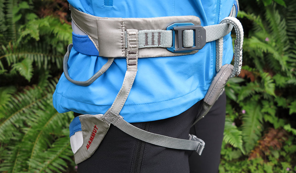 "Can't forget to double back with the spiffy ""quick clips"" on the Mammut Zephir Altitude Harness. PHOTO: Erin Smart"