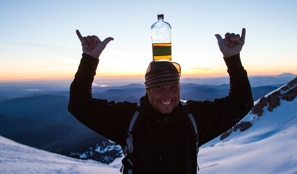 Photographer Richard Hallman skied all the way to the bottom with this bottle balancing on his head. PHOTO: Courtesy of Ethan Stone