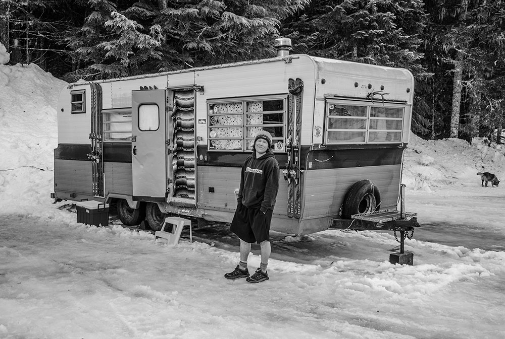 Steve Fratella and his trailer, regulars in the Crystal Mountain B Lot. PHOTO: Matt Small