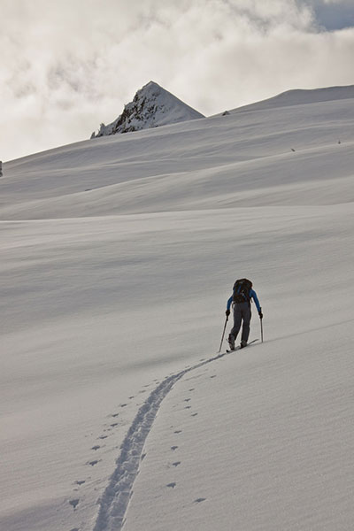 Kelley setting the skin track in B.C. PHOTO: Courtesy of Karl Kelley