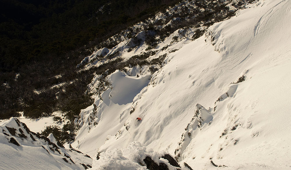 The author skiing the Shelf at Mount Buller. PHOTO: Jock Gunn