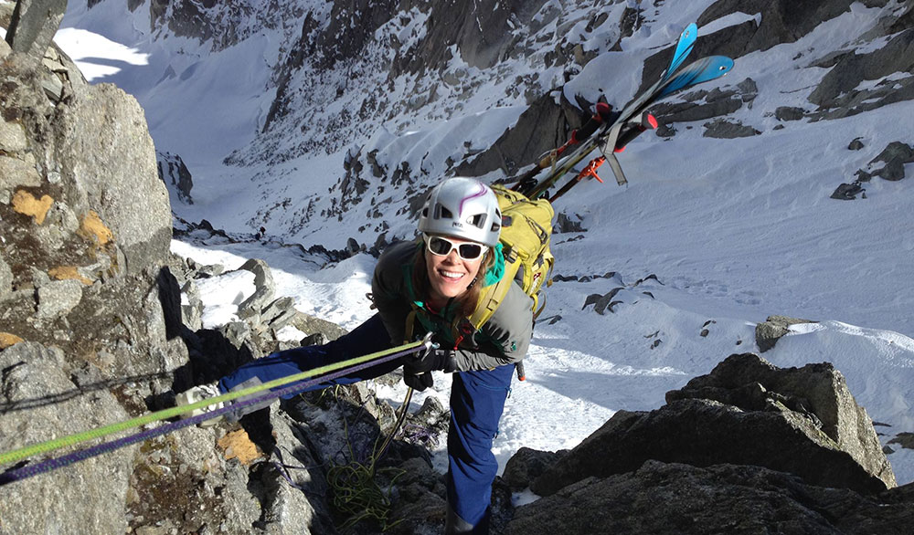 The author, on belay with the Zephir Altitude. PHOTO: Courtesy of Erin Smart