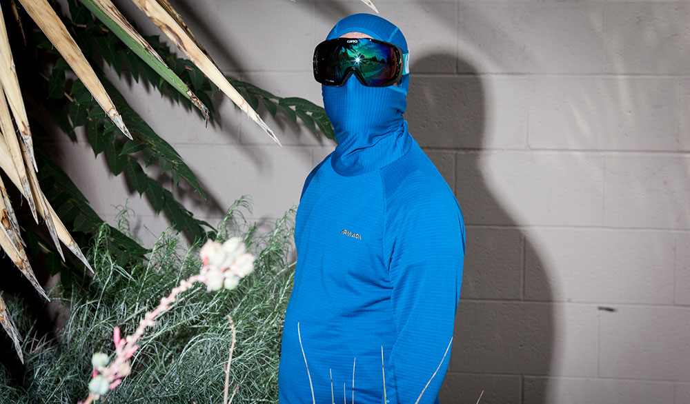 The Armada Rotor Pullover Hoody, great for windy boot packs or robbing banks. PHOTO: Jakob Schiller
