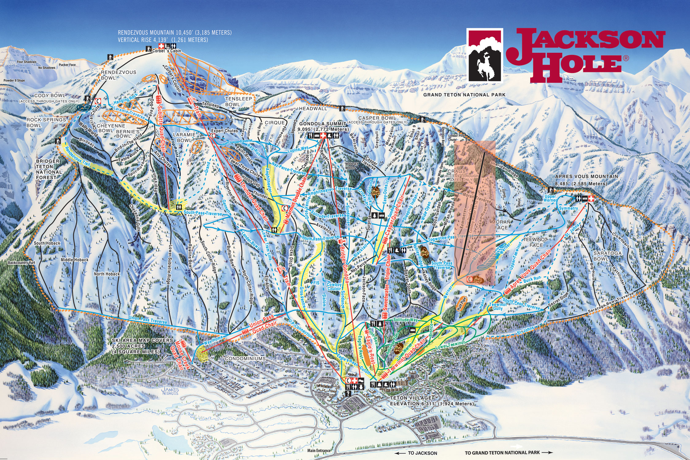 The Teton Lift, highlighted in the red box, will start spinning chairs in the 2015-16 season.