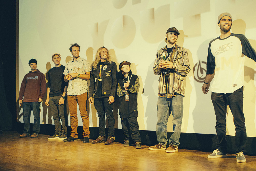 From left to right: James Heim, Richard Permin, Cody Townsend, Banks Gilberti, Aspen Spora, Sander Hadley, and Bobby Brown. PHOTO: Christopher D Thompson/Red Bull Media House