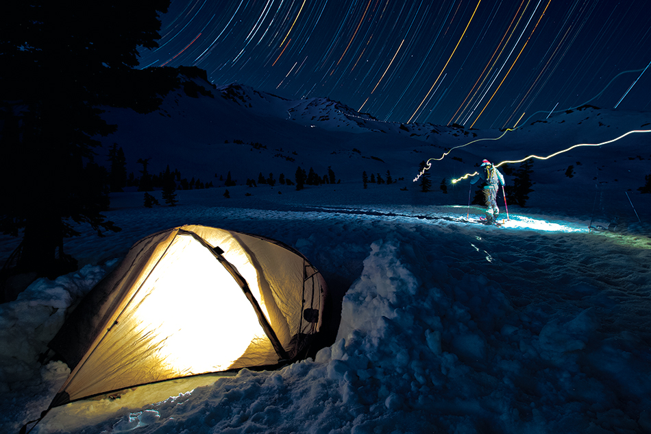 Light, stars, solo. Molly Baker and Zack Giffin on Mount Shasta. PHOTO: Grant Gunderson