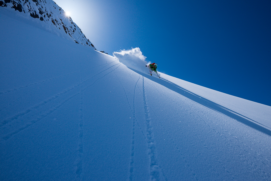 Despite 20 years of back and forth, the only way to make turns in Jumbo Valley is to earn them. Chad Sayers skiing beside the Farnham Glacier. PHOTO: Steve Ogle