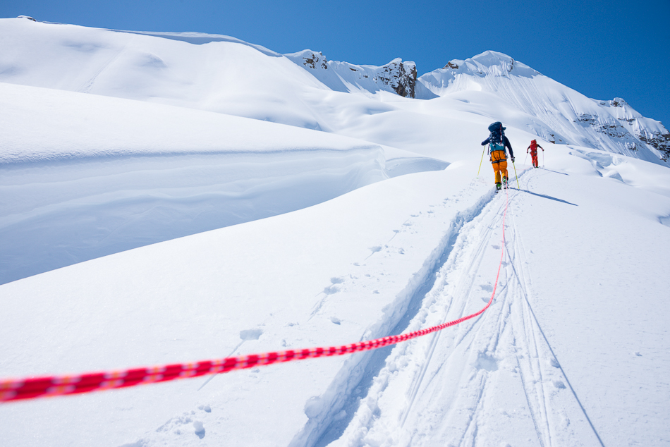 Skin it while you can. Chad Sayers and Brett Eyben hike up to Jumbo Pass for a few remote turns. PHOTO: Steve Ogle