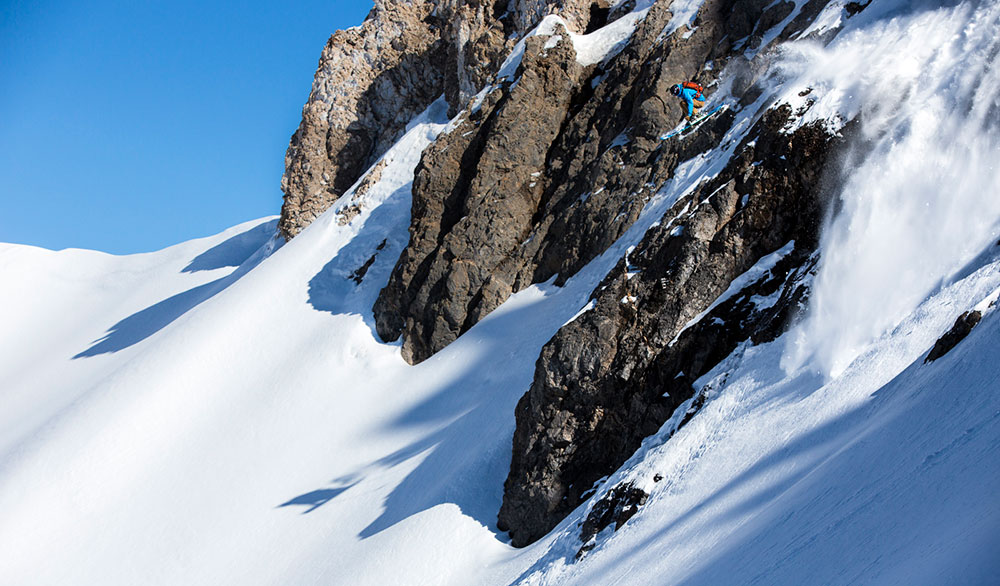 """Cristóbal """"Chopo"""" Diaz sends it in the Chilean backcountry. PHOTO: Jeremías Marinovic/The North Face Chile"""