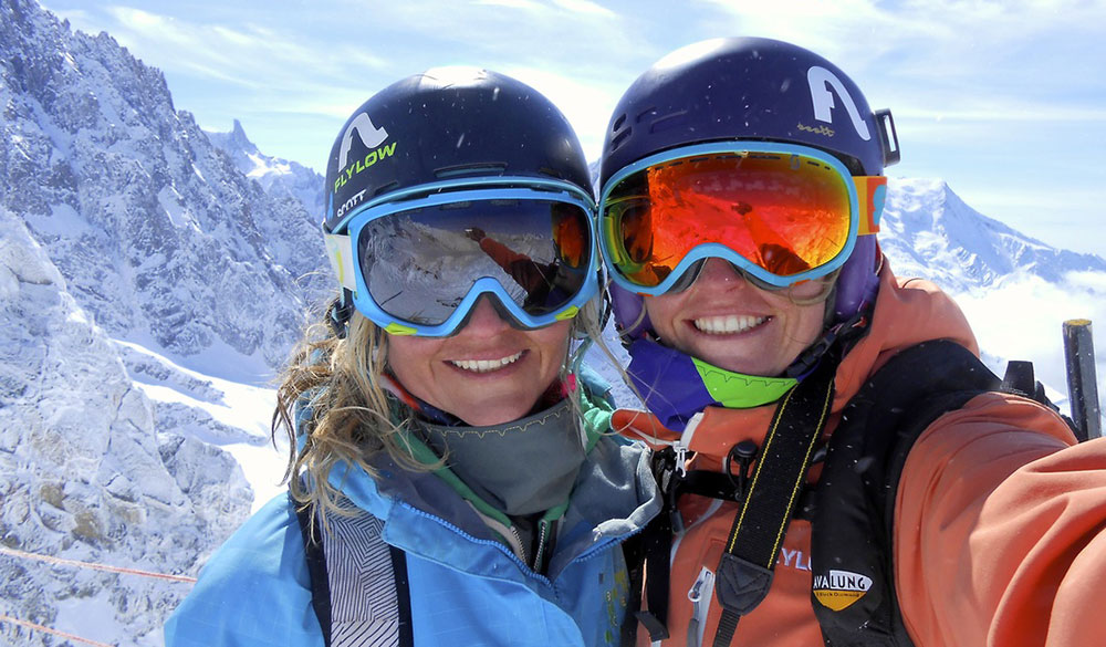 Michelle (right) and her wife, Jaime, in Chamonix. The couple travel the world in an RV. PHOTO: Michele Manning