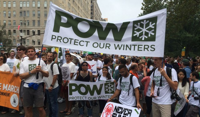 Protect Our Winters, lead by Auden Schendler (holding the sign on the left) represented at the historic march for climate change action. PHOTO: Porter Fox