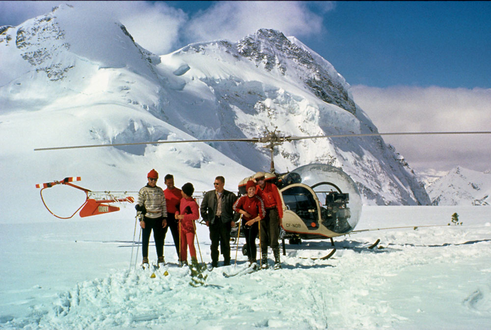 The first group of heli skiers at CMH. PHOTO: Canadian Mountain Holidays