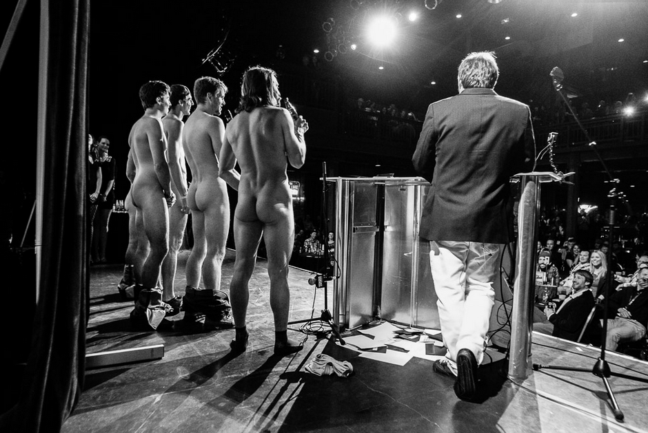 Some people pretend the audience is naked. Sweetgrass just gets naked. Sweetgrass accepts Movie of the Year at the 14th Annual POWDER Awards. PHOTO: David Reddick