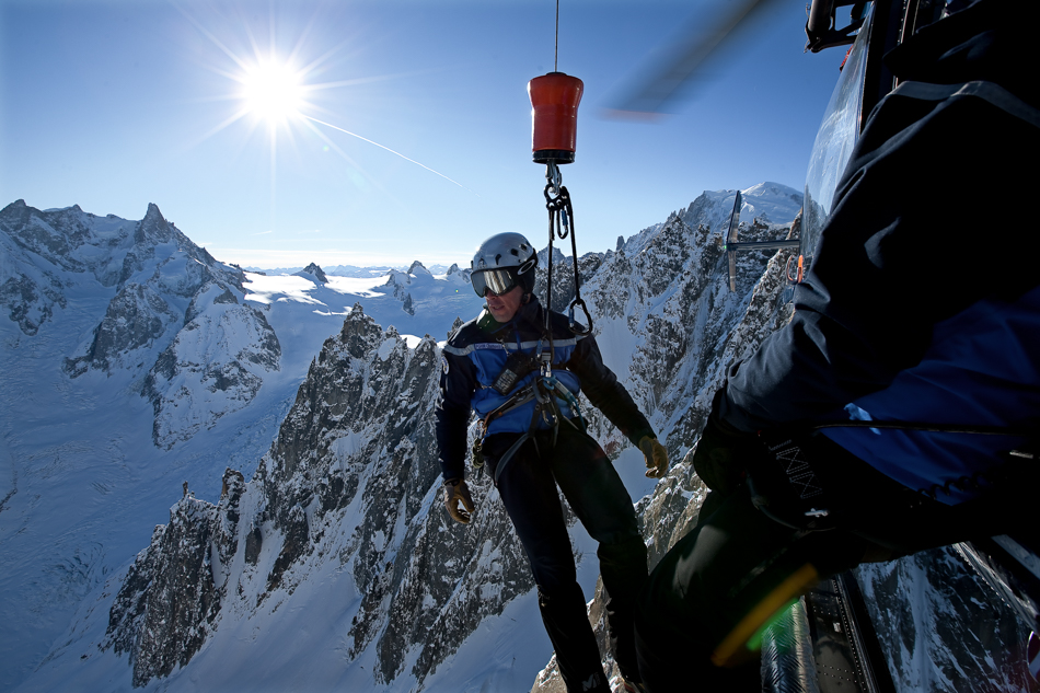 Whether it's hanging out of an airplane, or slipping into a crevasse, the rescuers in Chamonix are nothing short of creative. PHOTO: David Rastouil