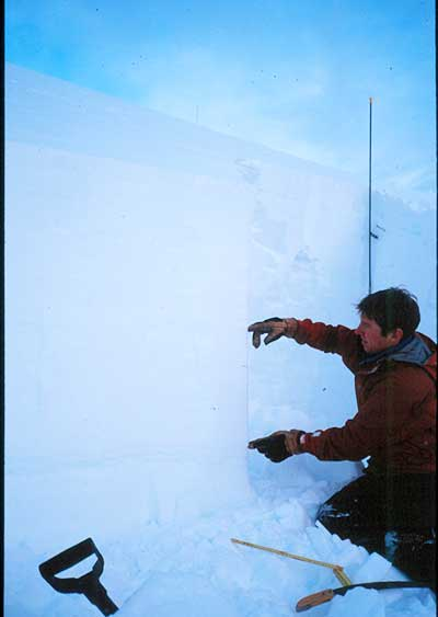 Jeremy Cox assesses the crown fracture left behind the January 2003 avalanche at La Traviata. PHOTO: B.C. Coroner