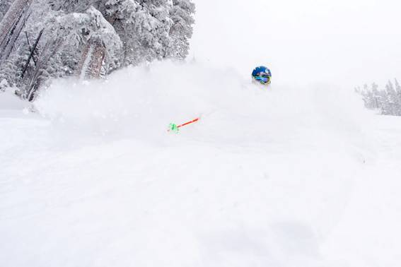 Drew Rouse takes first turns on the Highline area of Vail Mountain following the recent storm cycle. PHOTO: Daniel Milchev/Vail Resorts.