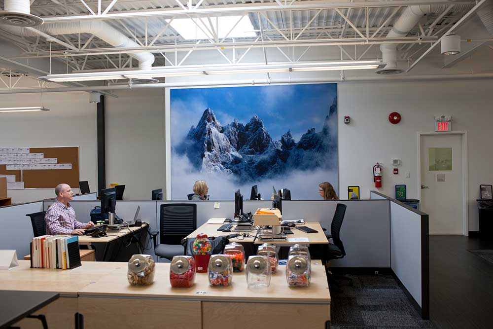 The people who work at the ArcTeryx headquarters in Vancouver have mountains on their mind. PHOTO: Jakob Schiller