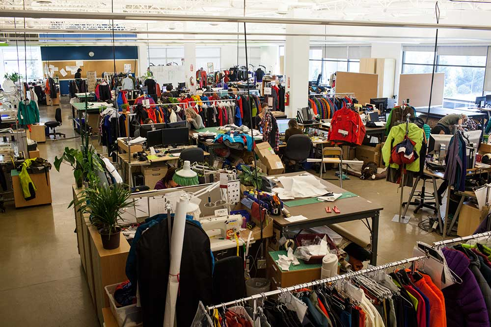 Where the creativity flows, the design floor at the Arc'teryx headquarters in Vancouver. PHOTO: Jakob Schiller