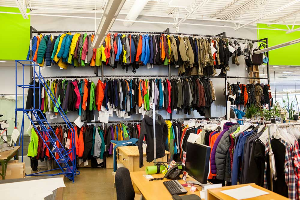 A wall full of jackets at Arc'teryx HQ in Vancouver. PHOTO: Jakob Schiller