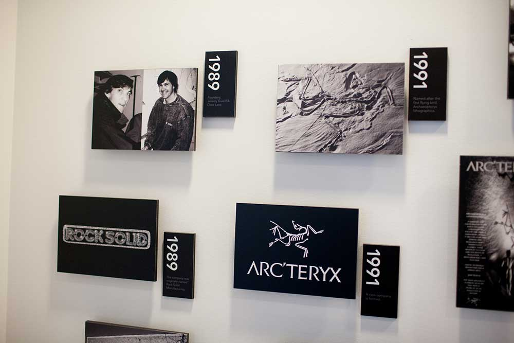 The wall of history inside Arc'Teryx. PHOTO: Jakob Schiller