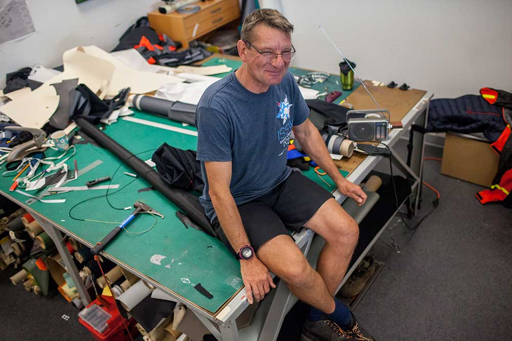 Mike Blenkarn, who has been designing Arc'Teryx products for two decades, at his table in the design headquarters in Vancouver. PHOTO: Jakob Schiller