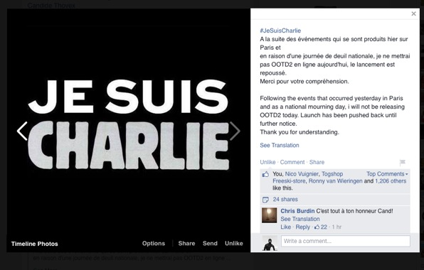 A post from Candide Thovex in response to last week's tragedy in Paris.