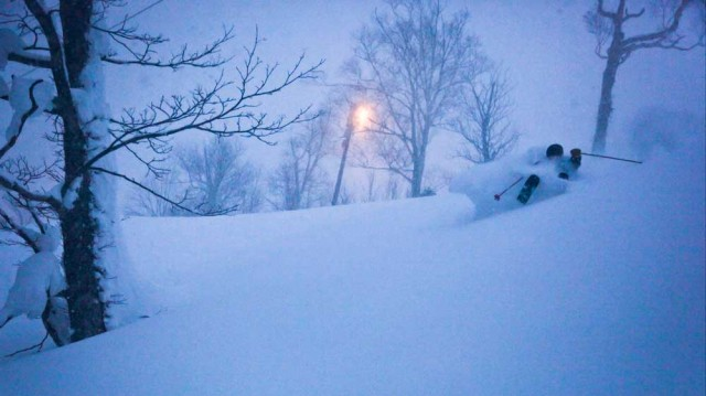 Twilight powder skiing at Kiroro Resort.