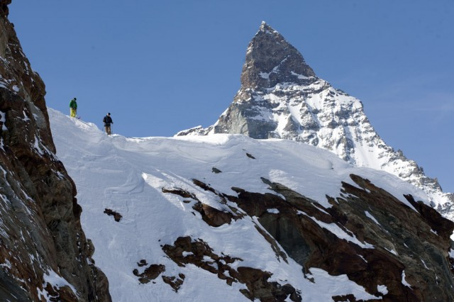 """That looks steeper than funnel of fondue from last night."" Finding coolies in the 86,000 skiable acres of Zermatt, with the Matterhorn doing its hypnotic thing in the background. PHOTO: David Reddick"