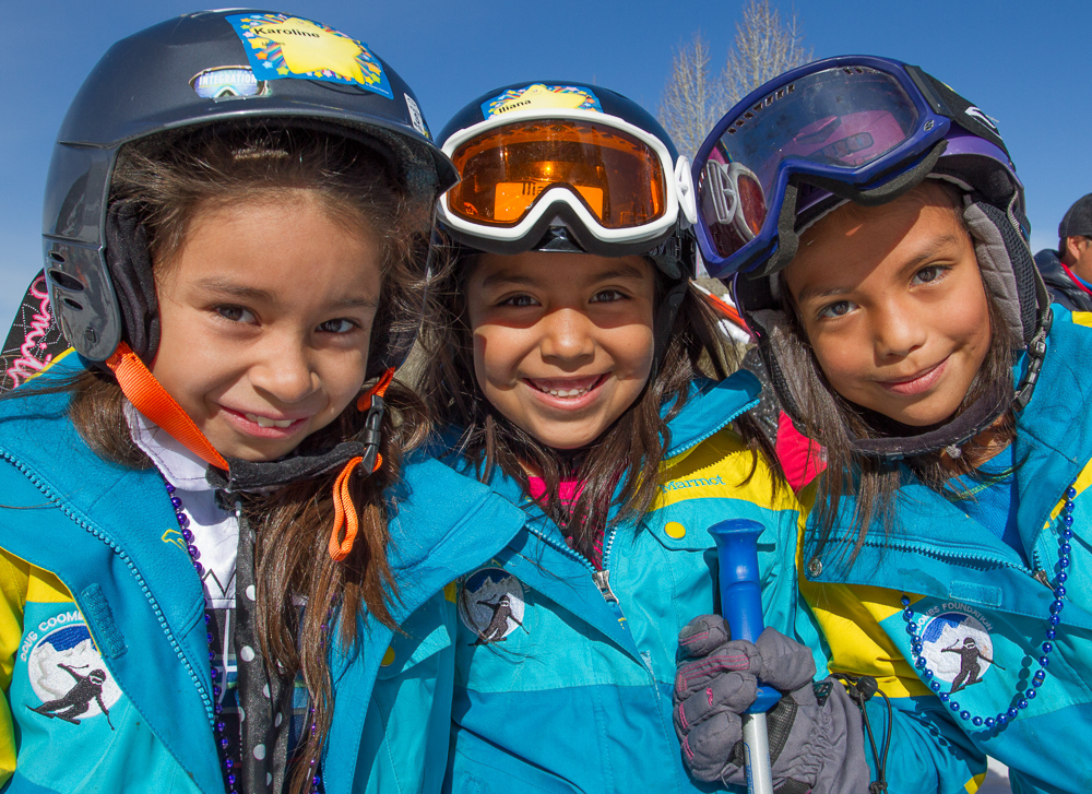 Cousins Karoline Montez, Lilly Barrera, and Angie Bernstien have been skiing with the Doug Coombs Foundation for three years. PHOTO: Emily Coombs