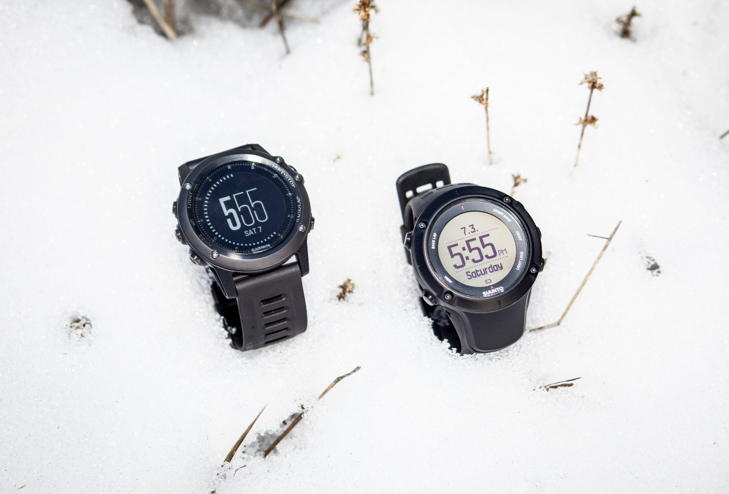 The Garmin Fenix 3 and the Suunto Ambit3 Peak. PHOTO: Jakob Schiller