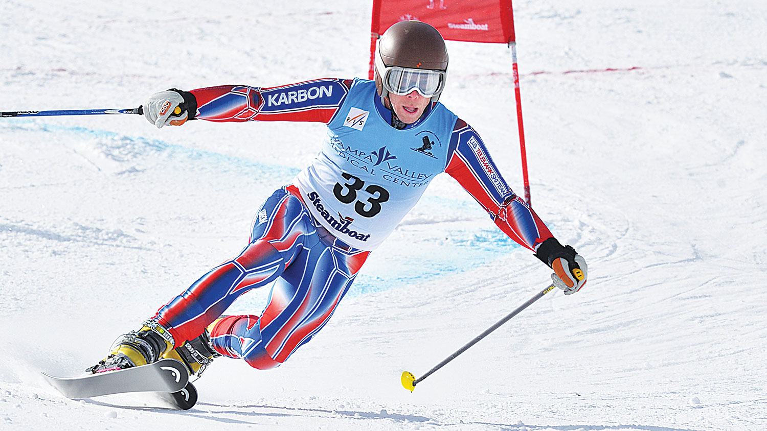 U.S. Telemark Ski Team Member Charlie Dresen drops the knee for the win. PHOTO: Teleski World Championships
