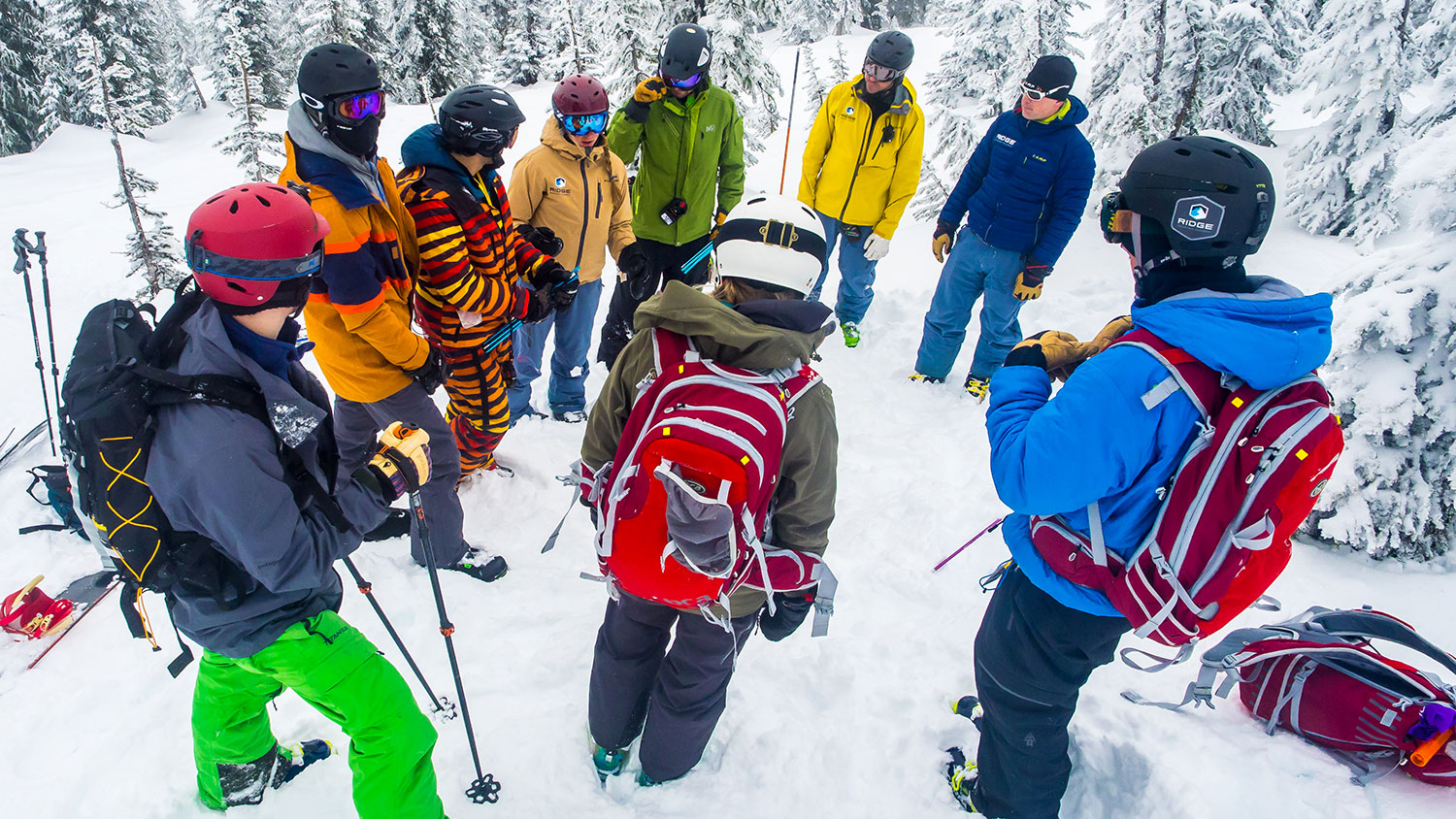 Students at the Ridge Mountain Academy huddle for an outdoor ed class. PHOTO: Courtesy of Ridge Mountain Academy