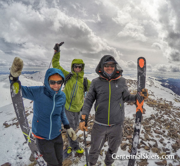 The Centennial Skiers stand atop peak number 99, Stewart Peak. PHOTO: The Centennial Skiers