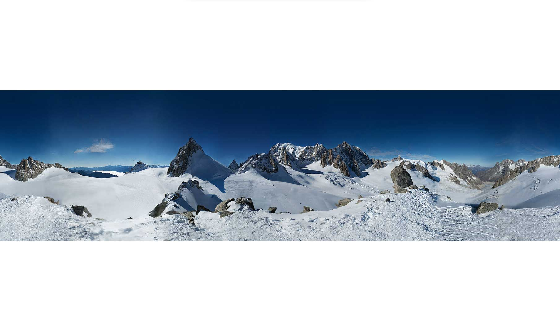 This photo doesn't do it justice. Click over to In2White.com to see the interactive panorama of Mont Blanc.