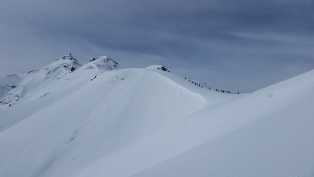 Skiers traverse the ridge at Silverton Mountain last season. PHOTO: Courtesy of Silverton Mountain Facebook