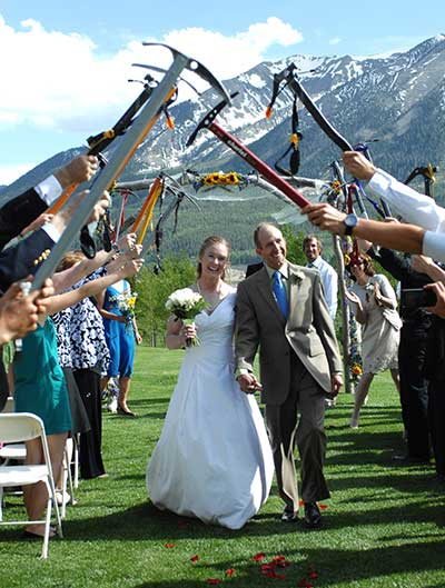 At their wedding, the Konsellas skipped the birdseed for ice axes. PHOTO: 14er Skiers