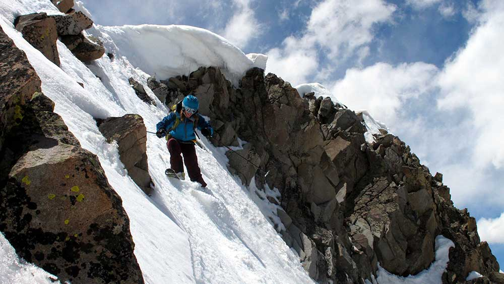 "Brittany ""cyber-stalked"" Frank to see if he was a worthy ski partner. PHOTO: 14er Skiers"