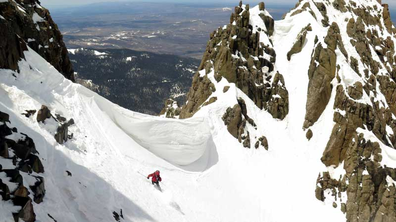 Another day in the life of Frank Consella. Here, he skis the Snake Couloir on Sneffels. PHOTO: 14er Skiers