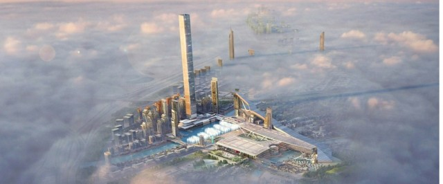 an artist rendering featuring a bird's eye view of Meydan One, Dubai's newest development which will be home to the largest indoor ski area in the world (seen on far right). Courtesy of The Meydan City Corporation
