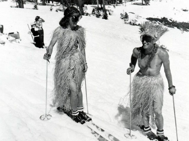 This is a man who knows how to have fun. A shirtless Dave McCoy could often been seen on the mountain in the '30s and '40s. PHOTO: TK