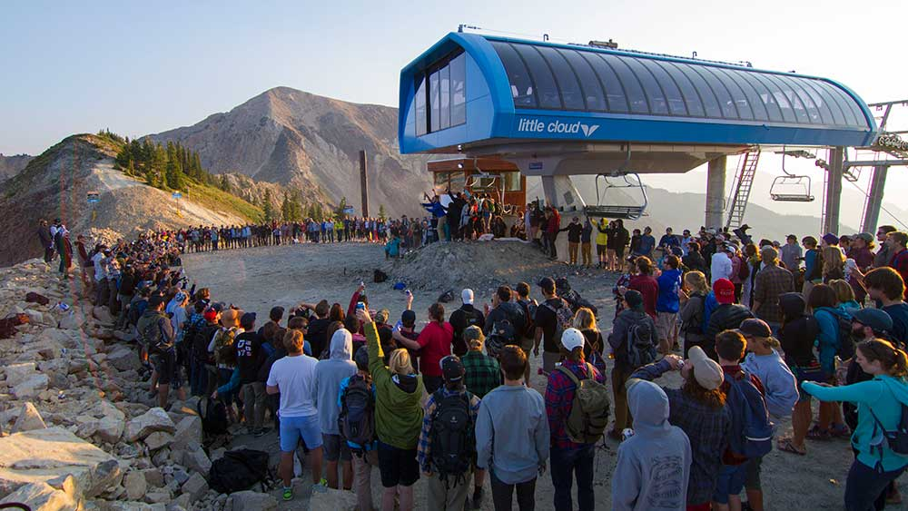 Hundreds gathered at the top of Snowbird to pay their respects to Matt Heffernan, who passed away on August 15th in a cliff-jumping accident. PHOTO: Noah Wetzel