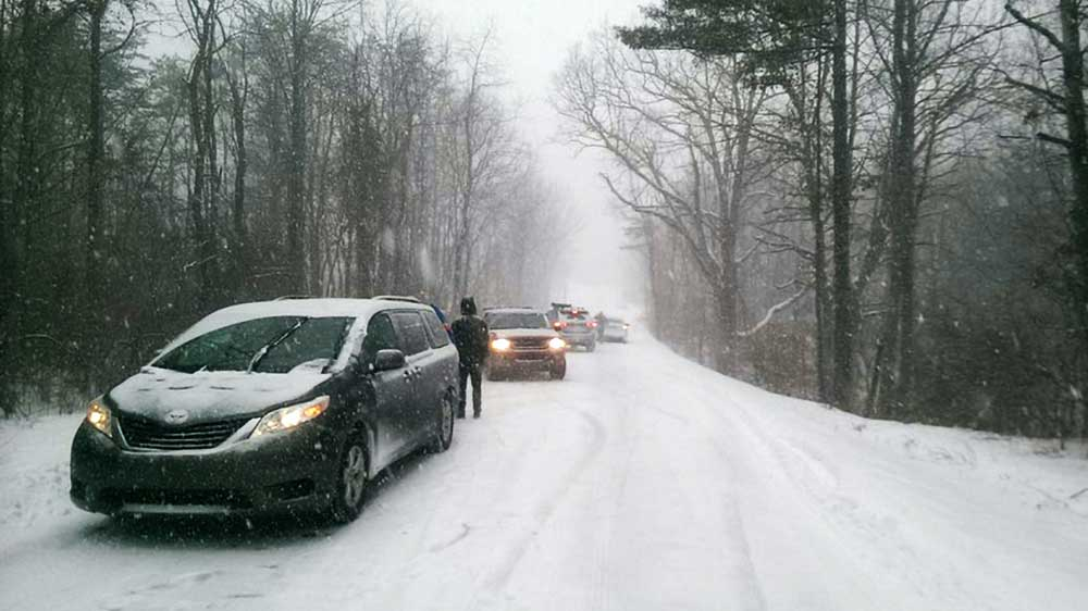 The day chain control was needed on the road to Wintergreen Ski Resort, south of the Mason Dixon Line. PHOTO: Clare Menzel